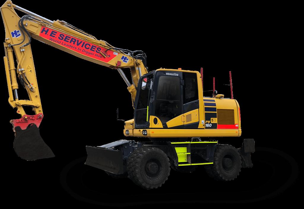 18 Ton Wheeled Excavator - 2 Piece Boom hire