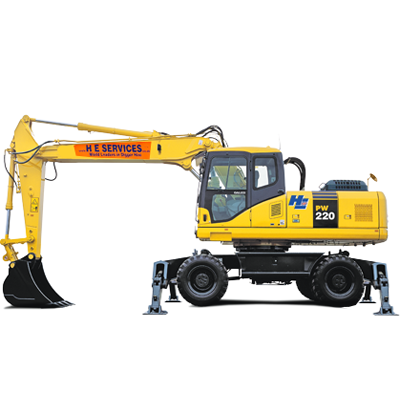 Wheeled Digger Hire - Available at H E  Services Plant Hire Ltd