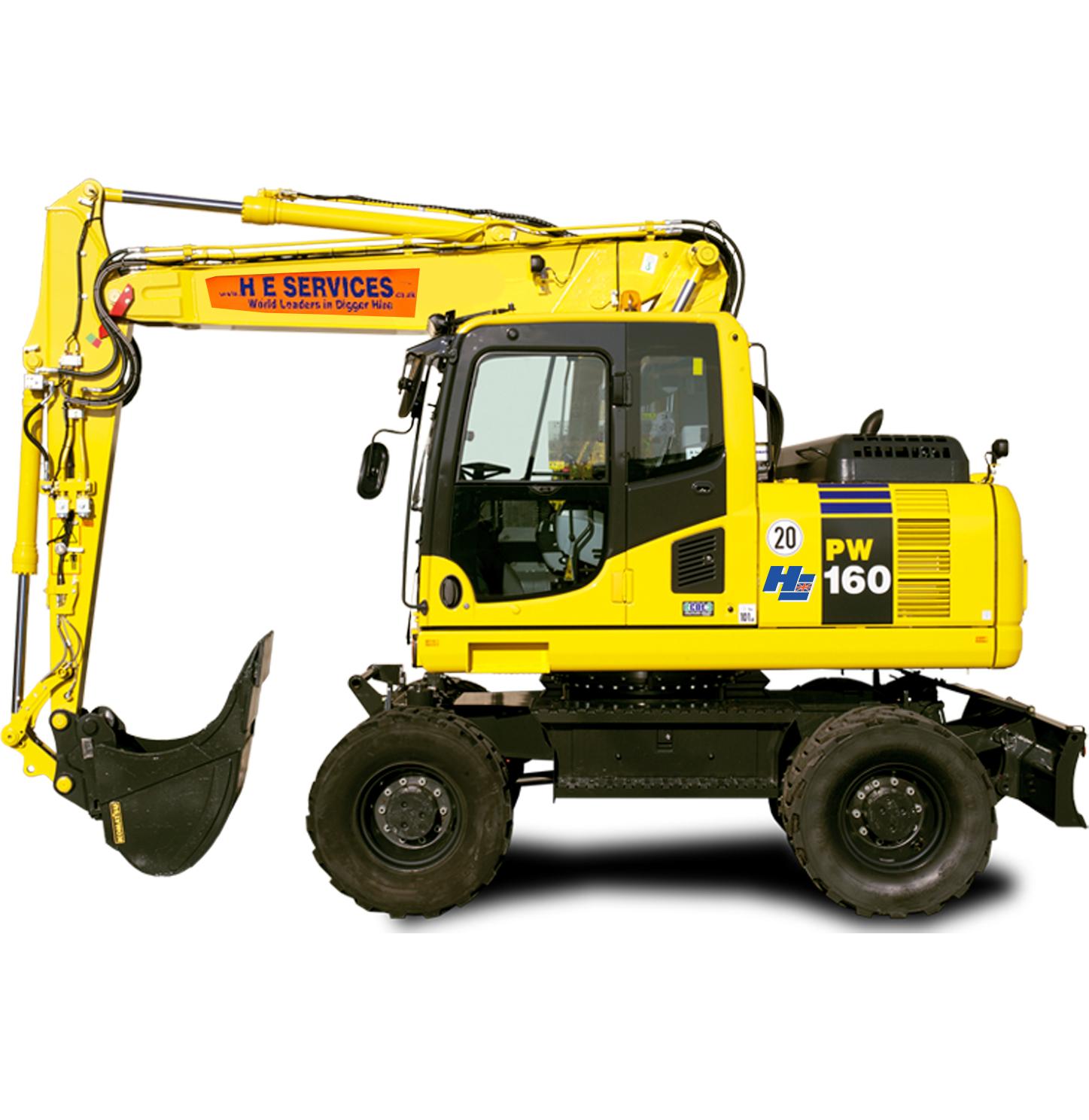 2 Piece Boom Komatsu PW160 Wheel Excavator
